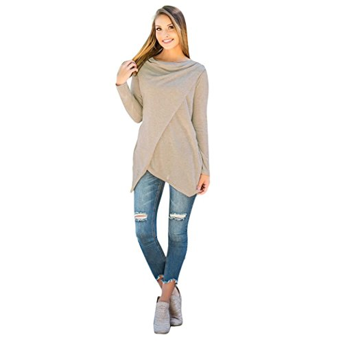 Teresamoon Clearance Sale ! Irregular Tops, Women's Long Sleeve Pullover Sweater (S, Beige)