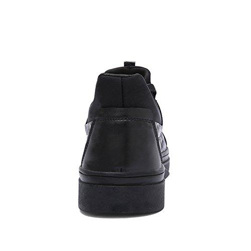 Andare Tour Uomo In Pelle Intrecciata Per Maglieria Moda Sneakers Tempo Libero Scarpe Nere 2