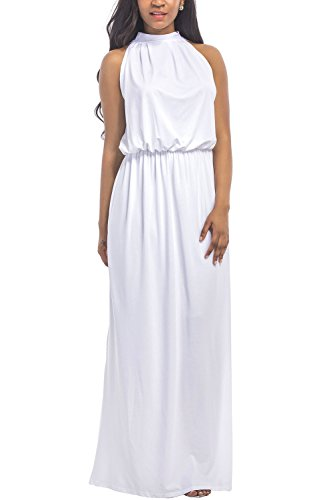 WIWIQS Women's Halter Loose A-Line Casual Maxi Dress Plus Size Party Club Long Dresses,White,3XL