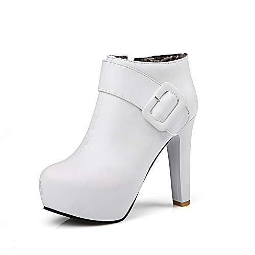 Bianco 5.5 US White 5.5 US Women's Gladiator PU (Poliuretano) Falle -* Winter Boots Stiletto Heel Round Toe Booties /Ankle Boots Buckle Black /Beige /Pink