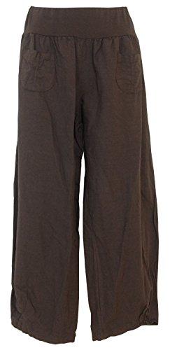 Pantalon lino para mujer, Made in Italy Marron