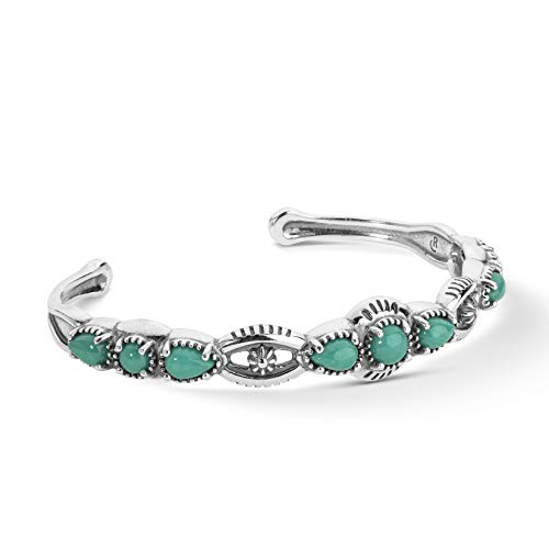 American West Sterling Silver Green Turquoise Gemstone Slim Cuff Bracelet Sizes Medium