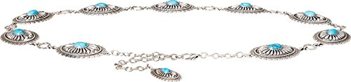 [Ariat Accessories Women's Oval Chain Belt L, Tuq/Silver] (Silver Concho Belt)