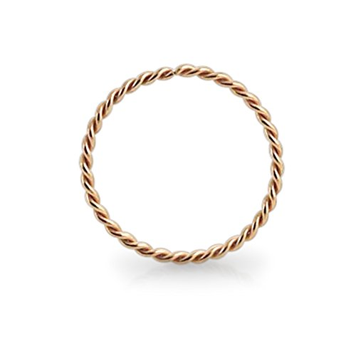 14KT Solid Rose Gold 22 Gauge ( 0.6MM ) - 5/16 ( 8MM ) Length Seamless Continuous Twister Hoop Nose Ring Nose Jewelry (Gold 22 Nose Ring)