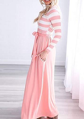Jaycargogo Des Femmes De Bande De Couture Occasionnels Robe Maxi-club Col Rond Imprimé Rose
