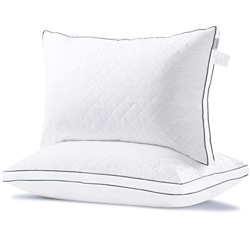 VECELO Hotel Bed Pillows For Sleeping 2 Pack 100% Hypoallergenic, Supportive Neck Pain Relief, Soft Plush Fiber Fill For Side/Back Sleeper Queen, White