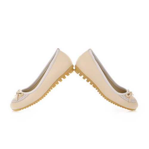 Solid Closed Bowknot whith Round WeenFashion Women's Beige US PU Flats Material 5 Soft 6 B Toe M 0B5vwq