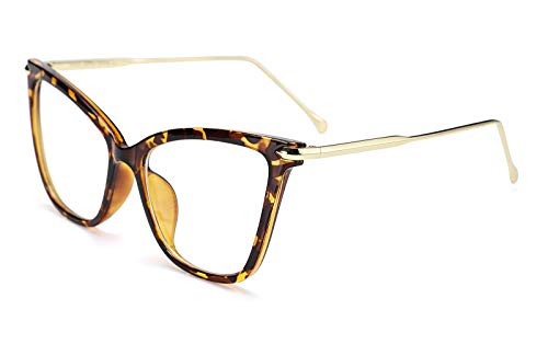 FEISEDY New Oversized Cat Eye Glasses Frame Non prescription Eyewear for Women B2460