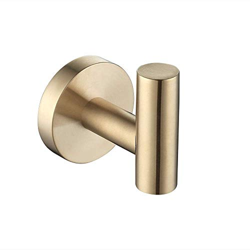 Hook Gold Robe - KES Bathroom Lavatory Wall Mount Single Coat and Robe Hook, Brushed PVD Zirconium Gold SUS304 Stainless Steel, A2164-BZ