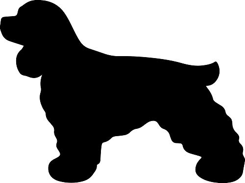 Spaniel Silhouette - ANGDEST [Set of 2] Cocker Spaniel Silhouette (Black) (Variations: Size & Color) Waterproof Vinyl Decal Stickers for Laptop Phone Helmet Car Window Bumper Mug Tuber Cup Door Wall Decoration