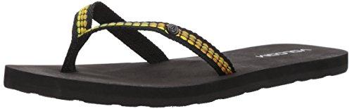 Volcom WoMen Trek Jacquard Strap Fashion Sandal Flip-Flop Black