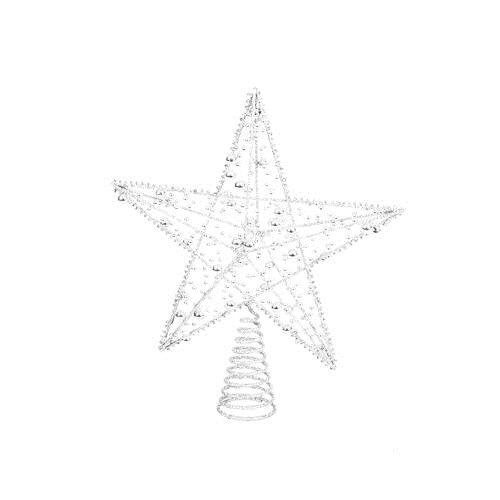 Viscio Trading Casa & Christmas Puntale Filo Stella Glitter con Perline, Metallo, Bianco, 8 x 25 x 30 cm Viscio Trading (VISFL) 165088