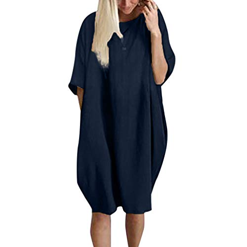 LISTHA Womens Pocket Loose Dress Crew Neck Casual Long Dresses Plus Size