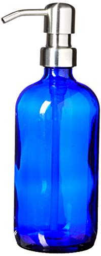 Industrial Rewind Cobalt Blue Soap Dispenser with Stainless Metal Pump - Blue 16oz Glass Lotion Bottle (Blue Bathroom Cobalt)