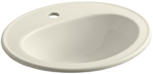 KOHLER K-2196-1-47 Pennington Self-Rimming Bathroom Sink, Almond (Self Rimming Almond)