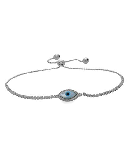 925 Sterling Silver Evil Eye Symbol Adjustable Bracelets- Choose Your Color and Style- Adjustable Bolo Bracelets (Light Blue Eye (S))