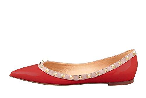 Arc-en-Ciel zapatos de las mujeres del remache del dedo del pie puntiagudo, más pisos de tamaño Rojo