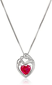 2 1/5 ct Created Ruby Mother & Child Pendant