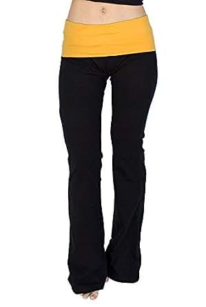 Popular Basics Women's Cotton Yoga Pants with Fold Down Waist-black/mustard Yellow