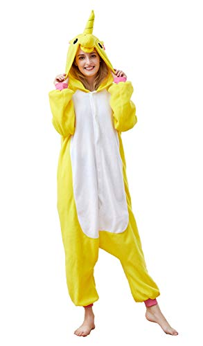 Adult Unicorn Animal Pajamas Women Men Cosplay Onesie One Piece Anime Cosplay Sleepwear Yellow -