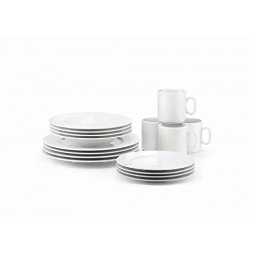 Revol - French Classique - Set of 16 Pieces Dinnerware: Soup Plates, Dessert Plates, Dinner Plates and Mugs - White Porcelain