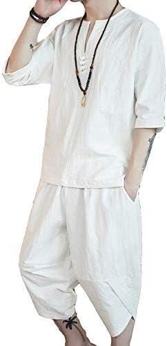 メンズ Tシャツ 半袖 麻 綿 トップス ハーフ ショート 綿麻 パンツ 上下 セット アップ 無地 吸汗速乾 カジュアル 休暇 オフ ルームウエア 部屋着