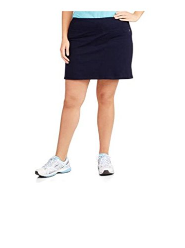 (Danskin Now Women's Plus Size Adjustable Waist Hidden Pocket Basic Knit Skort (3X Plus, Navy Blue))