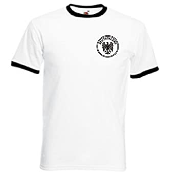 Invicta Screen Printers Mens Germany Deutschland German Team Retro T Shirt Small White
