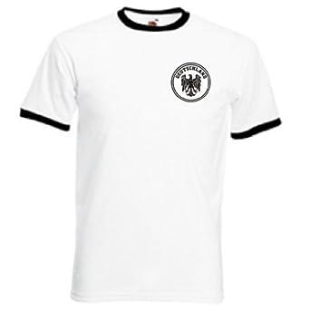 Invicta Screen Printers Mens Germany Deutschland German Team Retro T Shirt Small White