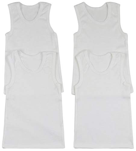 ToBeInStyle Boys' 4 Pack Double Hem Tank Tops - Ribbed White - Size 3
