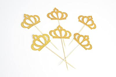 Gold Glitter Crown Cupcake Toppers Glitter Party Cake Decorations