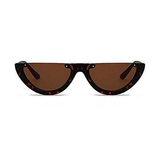 Gafas Classic Color Lady'S Punk Montura Sol de Sunglasses Retro sin de UV Gafas Unisex Hombre para Sol Semi Marrón Mujer de Negro Montura Estilo Lente Protección Pequeña plástico PC 0xnSTwFgT