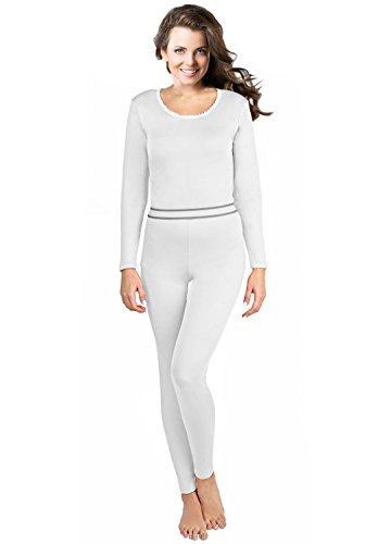 Rocky Women's 2 pc Ultra Soft Thermal Underwear, Top & Bottom Fleece Lined Long Johns White