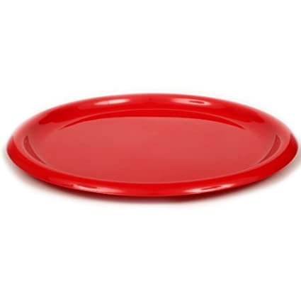 Amazon.com | Mainstays Reusable Hard Plastic Plate set Red, 4 pc ...