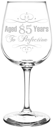 Personalized & Custom (85th) Aged To Perfection Elegant & Vintage Birthday Celebration Inspired - Laser Engraved 12.75oz Libbey All-Purpose Wine Taster Glass ()