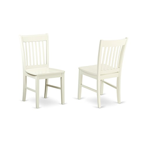 East West Furniture NFC-LWH-W Norfolk Dining Chair with Wood Seat, Medium, Linen White
