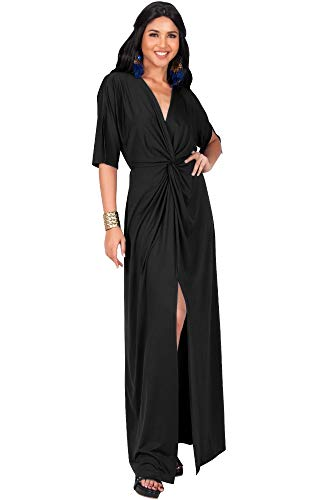 KOH KOH Plus Size Womens Long Sexy V-Neck Short Sleeve Cocktail Evening Bridesmaid Wedding Party Slimming Casual Summer Maxi Dress Dresses Gown Gowns, Black XL 14-16