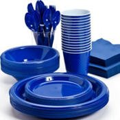 Divided Party Plates - Pans Pro Tableware 48 Serving Party Set, Forks, Spoons, Knives, Plates, Bowls, Cups, Napkins, Tablecovers (Blue)