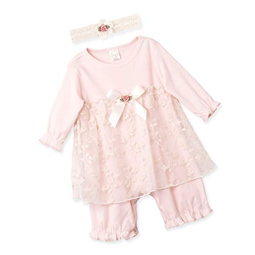 (Newborn Baby Girl Blush Floral Lace Skirted Romper 3-6)