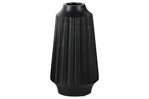 Urban Trends Ceramic Round Vase with Round Lip Ribbed Body and Tapered Bottom, Large, Matte Black