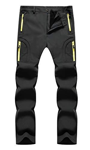 KAISIKE Men's Outdoor Windproof Fleece Lined Hiking Pants Waterproof Snow Ski Pants(Fleece-M07-Gray-XL)