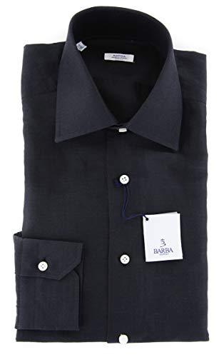 Barba Napoli Black Solid Button Down Spread Collar Linen Slim Fit Dress Shirt, Size x-Small 15 Barba Napoli Linen Shirt