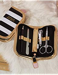 (Two's Company Nailed It Manicure Set in Zippered Case - (1 Count) Black White Stripe)