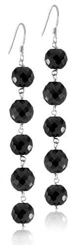 skyjewels 30 Ct. 6mm Black Diamond Dangler Earrings in Sterling Silver.AAA Quality Beads, Chandelier Earrings, Threader Earrings