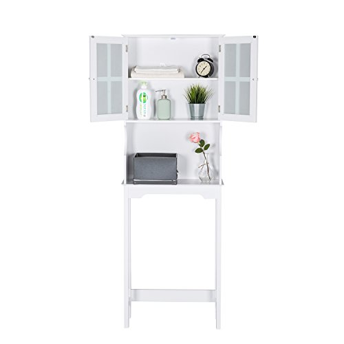 - Worldrich Wooden Bathroom Storage Space Saver Large Shelf Collect Storage Cabinet with 2 Doors/Open Rack, White