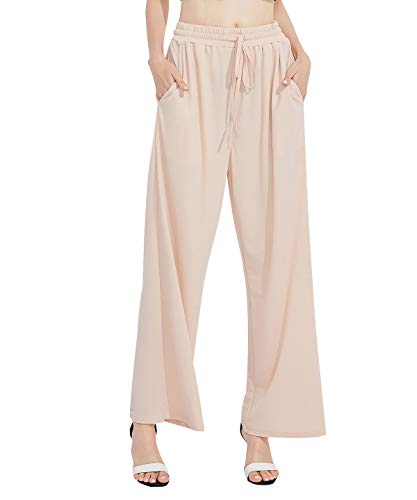 Women Linen Wide Leg Pant Casual Loose Soft Breathable Elastic Waist Beach Pants Palazzo TrouserFKZ3CS_BGE_L