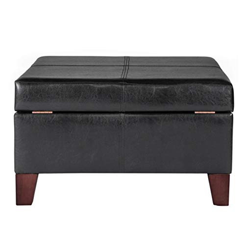 HomePop Large Black Faux Leather Storage Table Bench Living Room Bedroom by HomePop (Image #4)'
