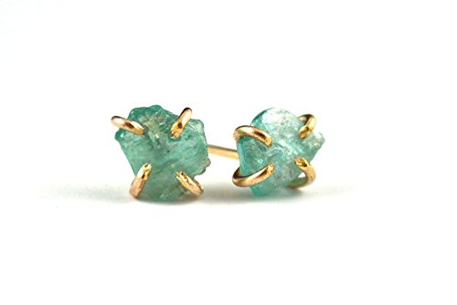 Raw Apatite stud earrings, Gold filled stud earrings, Claw prong setting earrings, Raw stone jewelry, Green apatite stud earrings, Gift for her ()