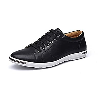 QXA Athletic Shoes shoe for Men Leisure Fashion Sneaker Casual Sport Lace Up Microfiber Leather Round Toe Flat Heel Breathable Wear Resistant Classic (Color : Black, Size : 38 EU)
