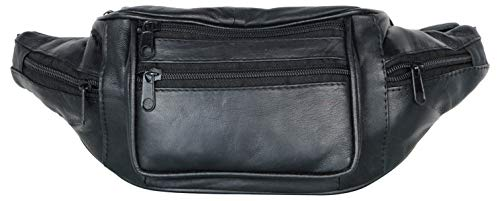- Leathers of India Black Waist Bag In Genuine Leather